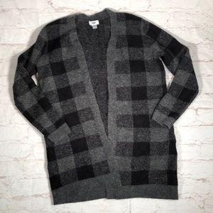 Plaid oversized cardigan.  Black/gray. Size Medium
